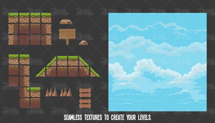 pixel art green hill tile set