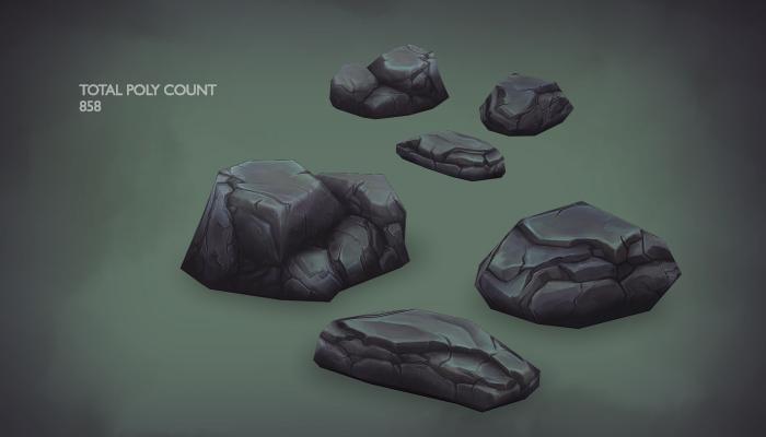 3d Hand Painted Rock Set
